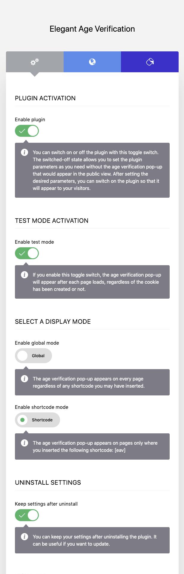 Elegant Age Verification Administration Interface – General Settings – Basic configuration
