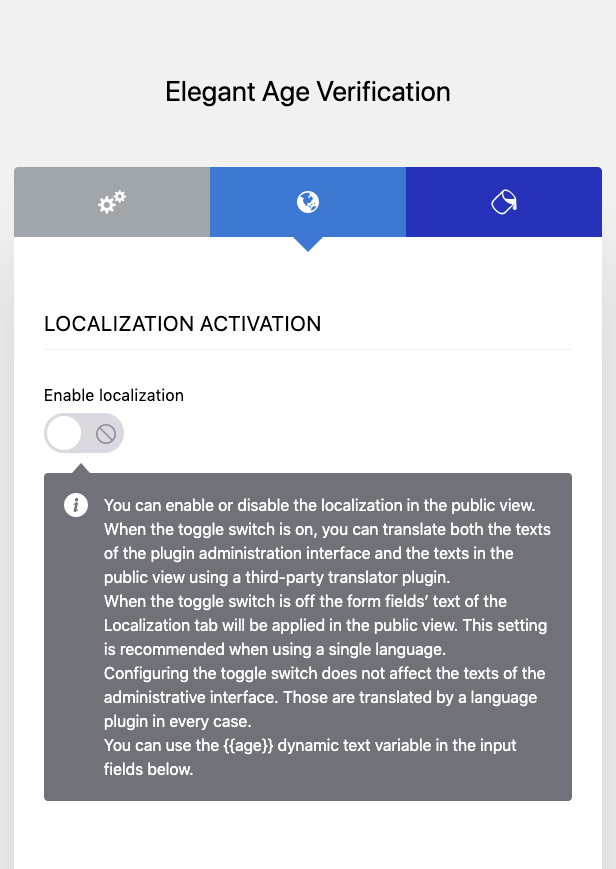 Elegant Age Verification Administration Interface – Localization – Example 1
