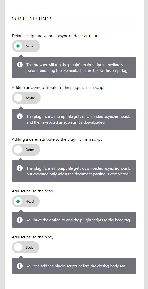 Elegant Age Verification Administration Interface – General Settings – Script settings